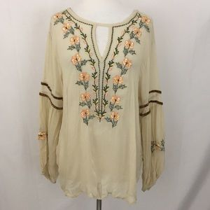 Ark & Co Embroidered Boho Top Sz M Beige